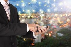 企业技术连接手电话世界和街市cit 免版税库存图片