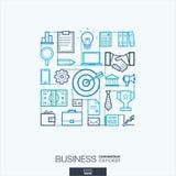 企业抽象背景,联合稀薄的线标志 免版税库存图片