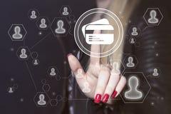 企业按钮在网上信用卡象 图库摄影