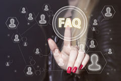 企业按钮常见问题解答连接信号网标志 免版税库存图片