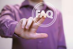 企业按钮常见问题解答连接象网通信 免版税库存照片
