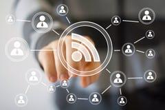 企业按钮标志rss信号连接 免版税图库摄影