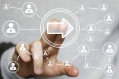 企业按钮箭头象连接通信网标志 免版税库存图片