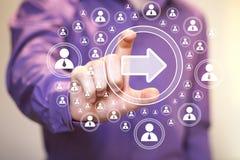 企业按钮箭头象连接通信网 免版税库存图片