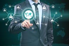 企业按钮网标志地图连接象 技术、互联网和网络概念 库存照片