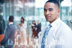企业接口的综合图象与图表和数据的 免版税库存照片
