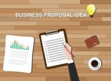 企业提案想法在工作书桌木头背景中 库存图片