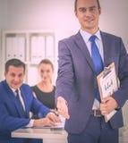 企业握手的特写镜头 库存图片