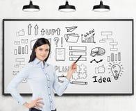 企业教练和一个起始的想法剪影在whiteboard 免版税库存照片