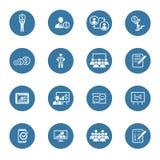 企业教练的象集合 在线了解 平的设计 免版税库存图片
