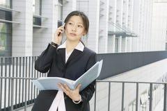 企业文件妇女woth年轻人 免版税库存照片