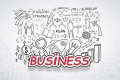 企业文本,有创造性的图画图和图表企业成功战略计划想法,启发概念现代设计临时雇员 免版税图库摄影