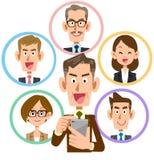 企业智能手机社会网络兴高采烈的老人 向量例证