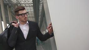 企业有等待他的飞行的行李的行家人 在玻璃的男性商人模型在都市机场 股票视频