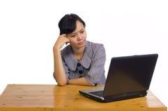 企业服务台使用妇女的膝上型计算机&# 免版税图库摄影