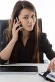 企业服务台她坐的妇女 库存照片