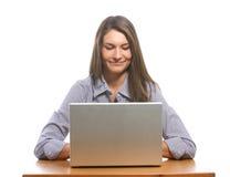 企业服务台她的膝上型计算机妇女 免版税库存照片