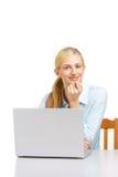 企业服务台她的膝上型计算机妇女 库存照片