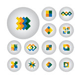 企业标志,设计元素,平的象-向量图形 免版税库存照片