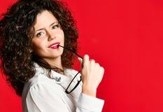 企业样式年轻女人时尚画象  免版税库存照片