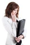 企业案件皮革认为的妇女 库存图片