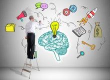 企业梯子的一个人画的想法概念 免版税库存图片