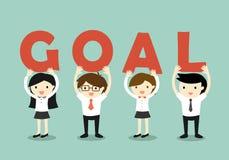 企业概念、商人和举行'目标'信件、目标和配合概念的女商人 也corel凹道例证向量 免版税库存图片