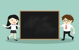 企业概念、商人和拿着介绍的女商人黑板 也corel凹道例证向量 库存照片