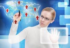 企业概念。 通信,连结,连接数人  图库摄影