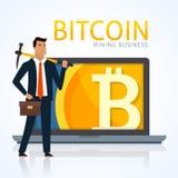 企业概念例证 商人采矿bitcoins和收入cryptocurrency 免版税库存照片