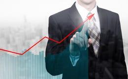 企业概念公司` s成长和增量统计 一位成功的领导 两次曝光 库存图片