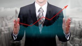 企业概念公司` s成长和增量统计 一位成功的领导 两次曝光 免版税库存图片