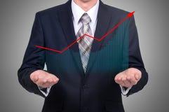 企业概念公司` s成长和增量统计 一位成功的领导 免版税库存照片