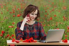 企业概念坐在书桌使用在领域的一台计算机的射击了一个美丽的少妇 库存照片