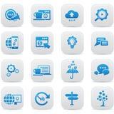 企业概念按钮,蓝色版本 免版税图库摄影