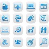 企业概念按钮,蓝色版本 免版税库存图片