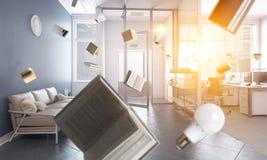 企业概念教育查出的白色 混合画法 免版税图库摄影