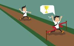 企业概念竞争 成功的商人横穿 向量例证