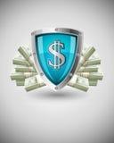 企业概念货币保护的证券盾 免版税库存照片