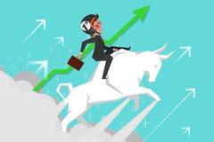 企业概念,乘坐斗牛的年轻商人腾飞  图库摄影