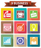 9企业概念,五颜六色的版本 库存图片