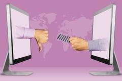 企业概念,从显示器的两只手 拇指下来,反感和手有医学药片的 3d例证 免版税库存图片