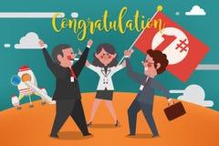 企业概念,企业队祝贺第1个地方优胜者, 免版税图库摄影