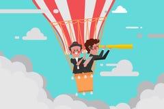 企业概念,团队负责人与一个气球人的企业飞行 免版税图库摄影