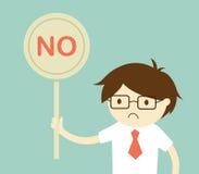 企业概念,拿着'不'标志的商人 传染媒介例证和平的设计 免版税库存照片