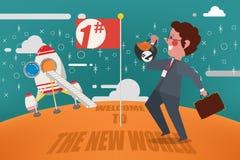 企业概念,欢迎到新的世界商人Spacecraf 免版税图库摄影