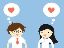 企业概念,爱在办公室 商人和女商人感觉爱 也corel凹道例证向量 免版税库存照片