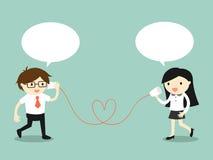 企业概念,爱在办公室 商人和女商人谈话通过杯子打电话 也corel凹道例证向量 库存图片