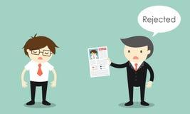 企业概念, Businessman& x27; s简历被拒绝 库存图片