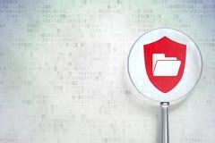 企业概念:与盾的文件夹有在数字式背景的光学玻璃的 免版税库存图片